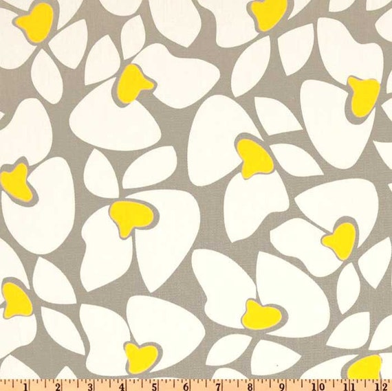 Helen Storm Grey and Yellow Twill Fabric - One Yard - Premier Prints ...