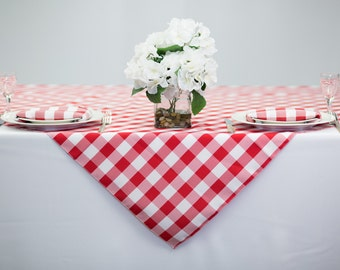 54 inch Square Red and White Checkered Gingham Polyester Tablecloth | Wedding Table Overlay