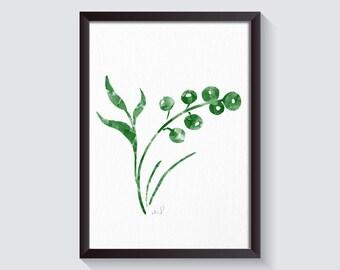 watercolor flower, flower painting, wall art, Minimalist Modern Art, Home Decor, green emerald decor Green Kitchen Decor Print Green Leaves