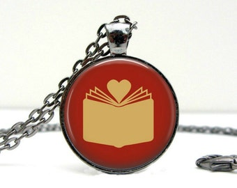 Book Love Necklace Glass Picture Pendant Photo Pendant (1396)