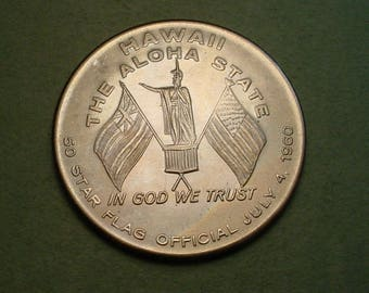 Hawaii State Hood  Medal  1960  39 MM in Mint Condition <># ET6023