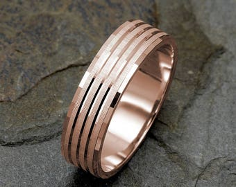 Mens Wedding Band, Solid Gold Band, Mens Ring, Mens Rose Gold Ring, 14k Gold, Mens Gift, Personalized Ring, Rose Gold Wedding Band,