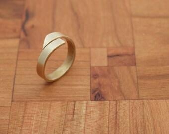 Asymmetric Brass Wrap Ring