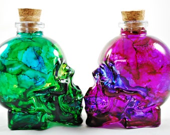 Glass Skull Poison Ink Stained Apothecary Bottles - 3oz - Choose from Arsenic (Greens) or Deadly Nightshade (Purple)