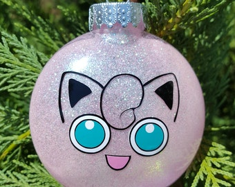 Jigglypuff Face Pokemon Go Parody Christmas Holiday Ornament  * Add Year and/or Name for FREE to back  * WigglyTuff * Smash Brothers * Bros