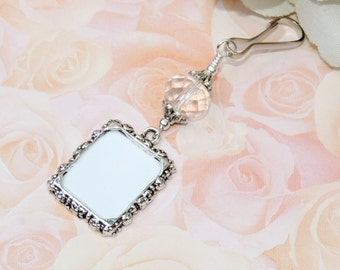 Wedding bouquet photo charm with clear crystal. Memorial photo charm for a Bridal bouquet. Gift for the bride. Clear or blue crystal charm.