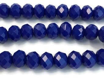 100 3x2mm royal blue faceted glass beads, Spacer Bead, Bead Supply, r49