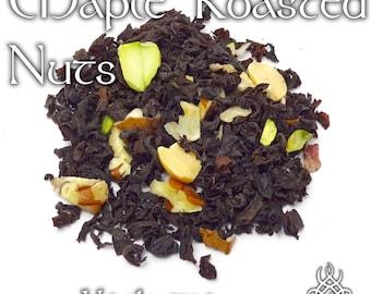 Maple Roasted Nuts Tea - loose leaf black tea, pecan, almond, hazelnut, pistachio, peanut, carnival, fall fair, Halloween, maple sugar
