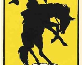 Vintage Style Nebraska cowboy rodeo   Travel Decal sticker