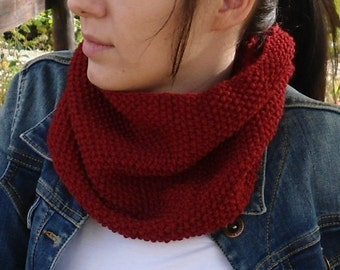 Knit cowl Hand knit cowl Wool cowl Red cowl