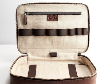 Brown Leather Gadget Travel Bag, iPad Leather Bag, Tech Dopp Kit, Cable Ties, Gifts For Men, Electronic Organizer, Tech Organizer. IPad Bag