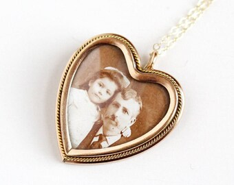 Sale - Antique Photo Pendant - Vintage Edwardian 1910s Rose Gold Filled Photographic Heart - Dad Daughter Necklace W&H Co Old Family Jewelry