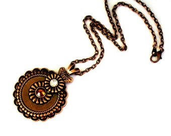 Medallion copper necklace, antiqued copper statement necklace with crystal