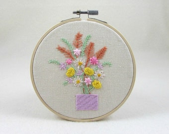 Hand embroidery hoop art, floral wall decor, rustic hoop decor, embroidered hoop decoration, wall hanging, gift for her, mothers day