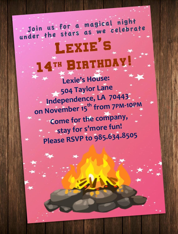 Bonfire Party Invitation Outdoor Campfire Birthday Party