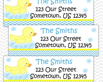 Rubber Duck Blue - Personalized Address labels, Stickers, Baby Shower