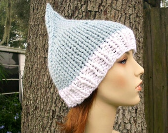 Knit Hat Womens Hat - Blue Gnome Hat Blue and White Knit Hat Blue Hat Blue Beanie Womens Accessories Winter Hat - READY TO SHIP