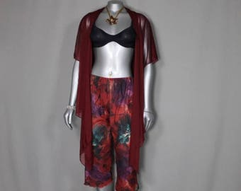 Sheer Delight Maroon BoHo Hippie Island Hopping Vacation Wear