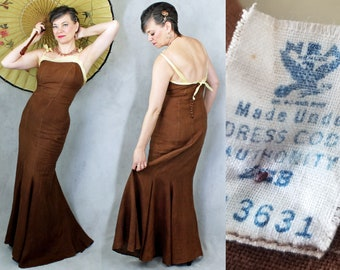 1930s Dress / 30s Dress / Rare NRA Label / Evening Gown / Linen Trumpet Style Dress / 1930s 30s Gown / Event Dress / Size 8 10 / B40 W 30