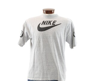Vintage 80s 90s NIKE T Shirt Screen Tee Short Sleeve Shirt Heather Gray Knit Black Swoosh Mens Athletic Fashion 1980s 1990s XL Large L