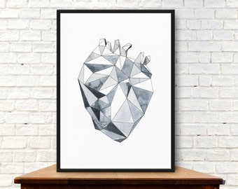 Wall Art Print, printable art, instant download, watercolor painting, geometric heart, scandinavian art, black and white, anatomical heart