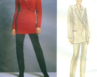 Vogue 2031 CALVIN KLEIN Double Breasted Off Center Side Button Jacket & Tapered Pants Suit ©1997 Vogue American Designer Size 12 - 14 - 16