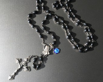 Antique Rosary Victorian Sterling Silver and  Black Oval Gutta Percha beads - Enameled Lady of Lourdes Charm Circa 1900