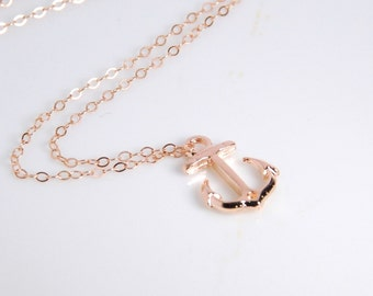 Rose gold anchor necklace, 14K rose gold filled chain