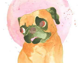 Funny Watercolor Painting, Pug Dog Lover Art Gift, Funny Animal Art Print, Dog Lover Gifts For Women Under 30, Pug Gift For Her, Pug Print