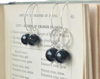 Raven's Wing Earrings, Fog and Fern, Carlie Beads, Onyx, Alaska, Yukon, Rivers and Sage, Handmade, Rustic, Modern, Sterling Silver, Hammered