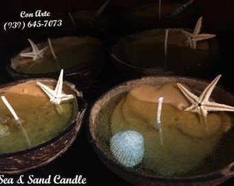 Sea and Sand Coconut Shell Candle