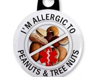 Allergic to TREE NUTS and PEANUTS Medical Alert Zipper Pull Charm (Choose Size and Backing Color)