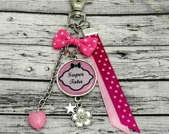 Tata cabochon personalised bag charm key charm flower Keyring Auntie