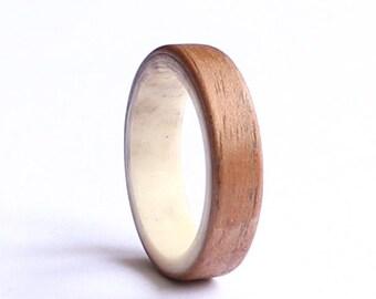 Mens Antler Ring, Women Wedding Ring, American Walnut Ring,  Natural Wood  Wedding band, Unisex Ring