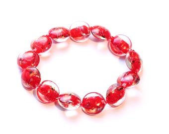 Bracelet with red Murano glass beads