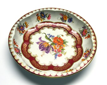 Vintage Daher Decorated-Ware Floral Tin Plate Bowl