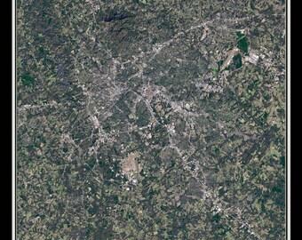 Greenville South Carolina Satellite Poster Map