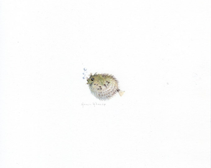 "Print of miniature painting of a Blow Fish. 1 1/4""x1 1/4"" print of original Blow Fish painting on 5"" square german etching paper"