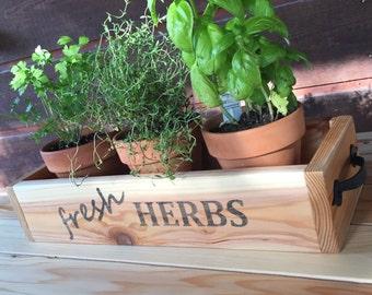 Cedar Herb Planter Box, wooden planter box, rustic kitchen decor,