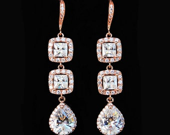 CZ Bridal Jewelry. Rose Gold Pear Squared Halo CZ Earrings 13902ERG. Rose gold bridal earrings. Gold Wedding jewelry. Long dangle earrings