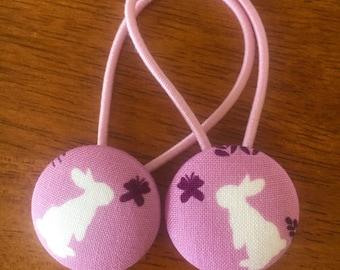 Fabric button bunny hair ties - CHEAP SHIPPING