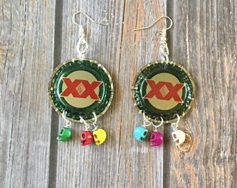 Bottlecap Beer Upcycled Dangle Earrings with Tiny Skull Beads