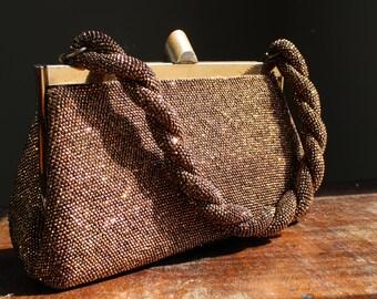 Vintage Bronze Beaded Handbag, Brown Purse with Compact, Pocketbook, Evening Bag, Clutch, Retro Fashion