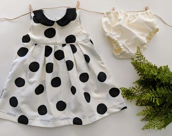 6-12 Mo Girls Black Polkadot Sleevless Collared Dress with Bloomers