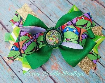 Turtles hair bow, Ninja Turtles hair bow, Teenage Mutant ninja turtles hair bow, Ninja Turtles hiar clip, Ninja turtles headband, Birthday
