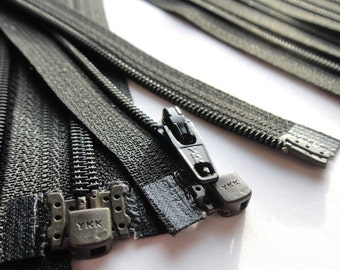 YKK Separating Zippers- Number 3s- Black 580- 5pcs- Available in 5,6,7,8,10,12,14,16 and 22 Inch