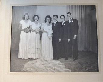 "Wedding Photo, Vintage. 1950s Wedding. Black and White Wedding Photo 8"" by 10"""