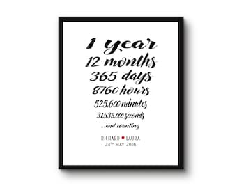 One year anniversary gift for her for him Personalised Print 1st Paper Anniversary names and date monochrome