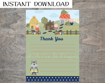 Three Little Pigs Thank you card | Birthday Farm Storybook 3 Huff and Puff Big Bad Wolf Printable Lined Note