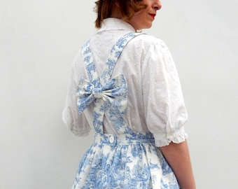 NEW Toile de jouy custom made pinafore dress, made to order toile de jouy dress or skirt all sizes and plus sizes